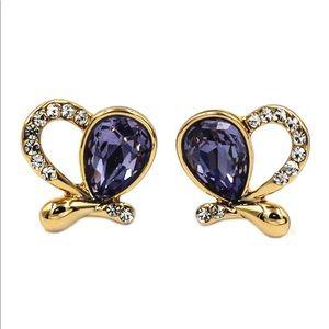Lovely  golden heart purple crystal earrings